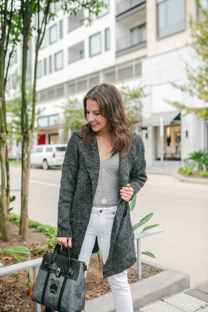 winter outfit | casual coatigan | gray bodysuit | Top Houston Fashion Blogger Lady in Violet