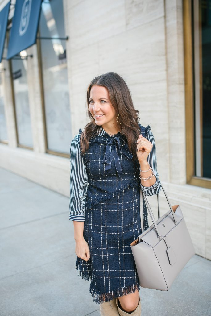 work outfit | navy tweed dress | striped blouse | Houston Fashion Blogger Lady in Violet