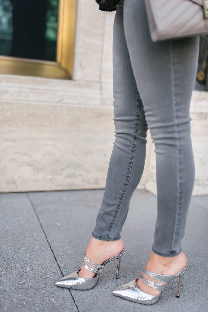 dressing up jeans | silver metallic heels | petite fashion blogger Lady in Violet