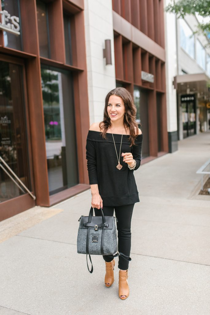 fall outfit | black off the shoudler sweater | henri bendel jetsetter bag | Popular Houston Fashion Blogger Lady in Violet