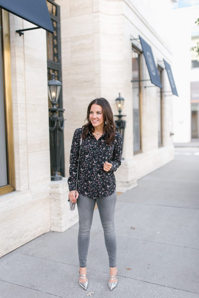 fall outfit | dark floral top | gray jeans | metallic heels | Houston Fashion Blogger Lady in Violet