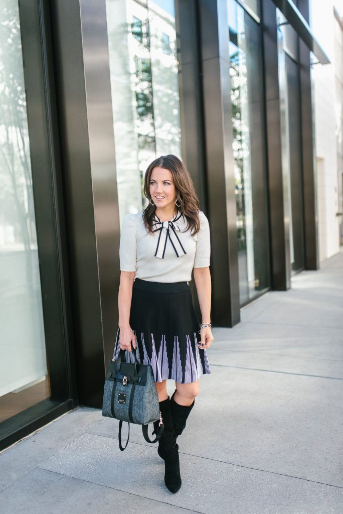fall outfit | petite workwear | bow tie sweater | black boots | Popular Houston Fashion Blogger Lady in Violet