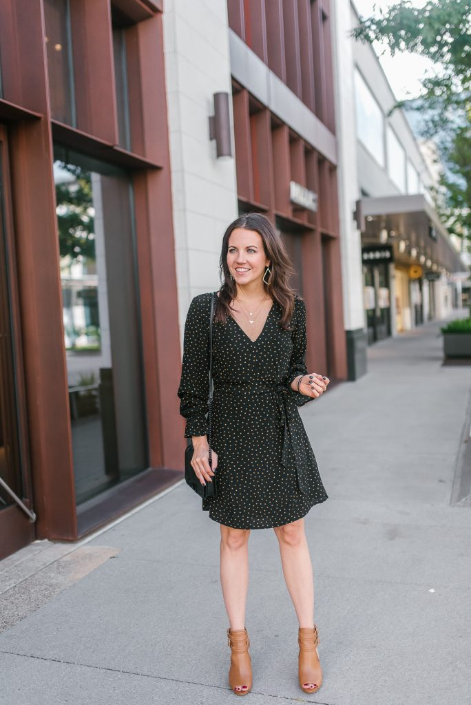 fall outfit | workwear | black dress | peep toe booties | Popular Petite Fashion Blogger Lady in Violet