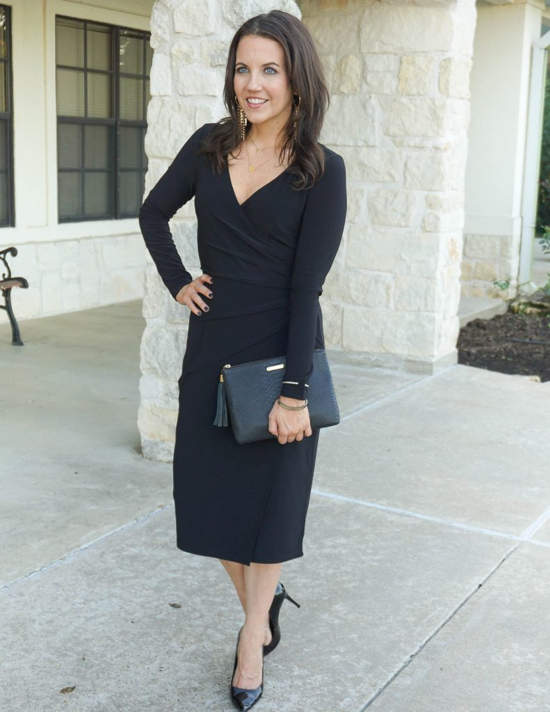 holiday outfit | long sleeve black dress | workwear | Houston Fashion Blogger Lady in Violet