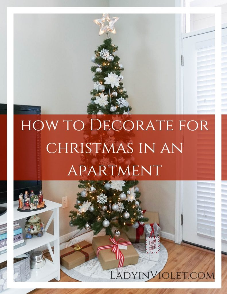 How to Decorate for Christmas in an Apartment | Christmas Tree for Small Spaces | Silver Holiday Decor | Houston Blogger Lady in Violet