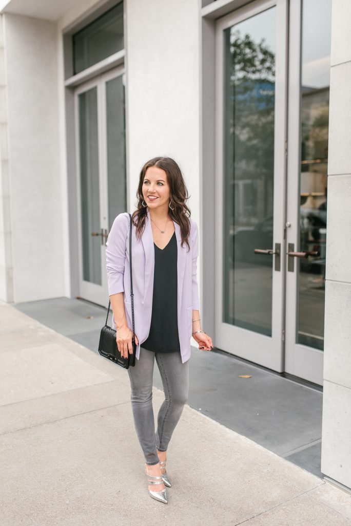 fall outfit | lavender blazer | gray jeans | Top Houston Fashion Blogger Lady in Violet