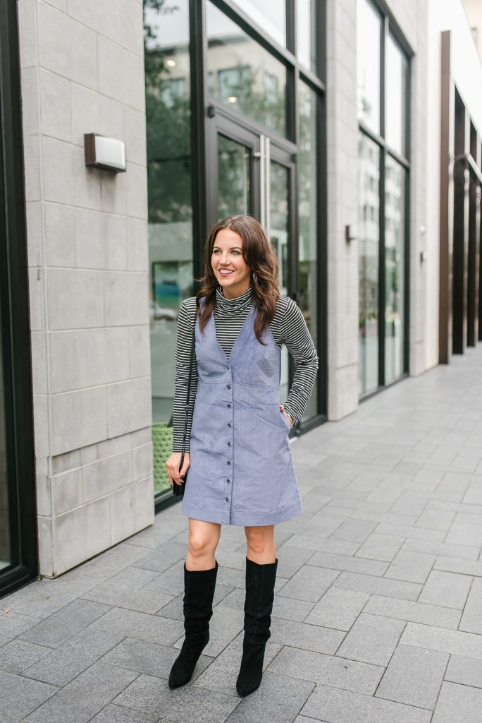 fall outfit | purple corduroy jumper dress | black suede boots | Popular Houston Fashion Blogger Lady in Violet