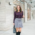 Gray Button Front Suede Skirt