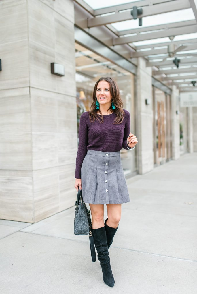 fall outfit | purple sweater | gray suede button skirt | Houston Fashion Blogger Lady in Violet