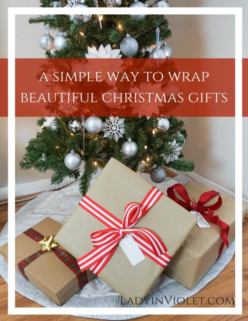 simple way to wrap beautiful christmas gifts | Houston Blogger Lady in Violet