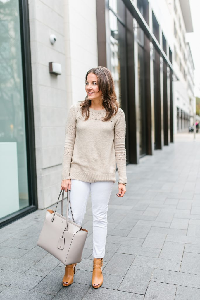 winter outfit | lacy beige sweater | white skinny jeans | Popular Houston Fashion Blogger Lady in Violet