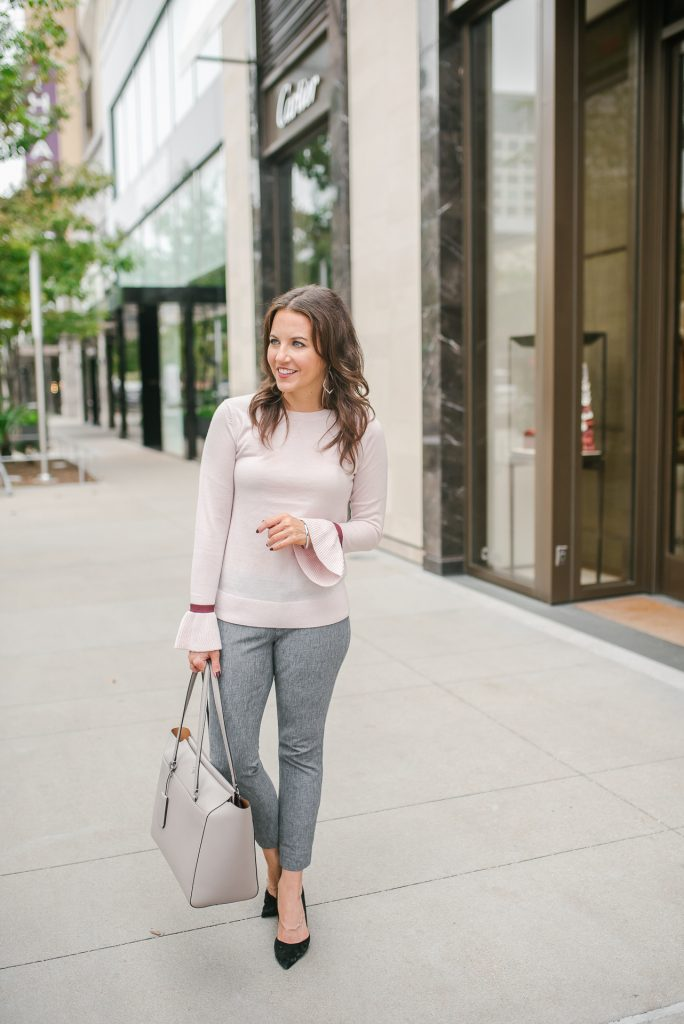 winter workwear | blush pink sweater | gray pants | Top Houston Fashion Blogger Lady in Violet