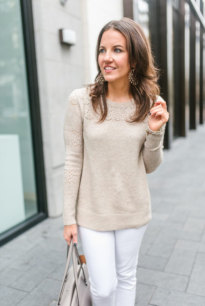 fall outfit | beige sweater | white jeans | Top Houston Fashion Blogger Lady in Violet