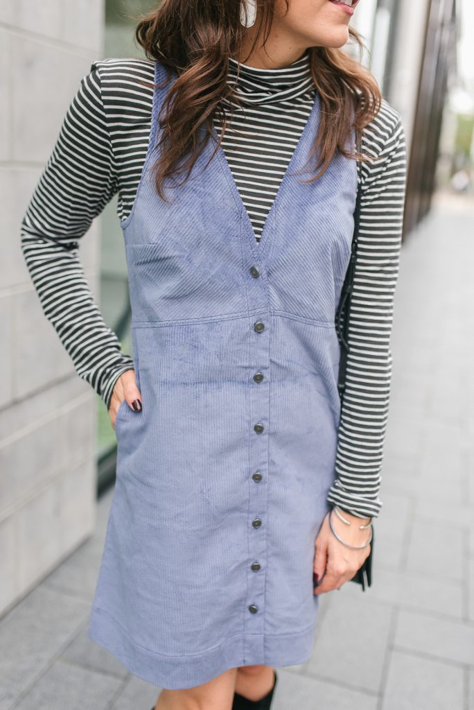 winter outfit | striped turtleneck | corduroy dress | Houston Fashion Blogger Lady in Violet