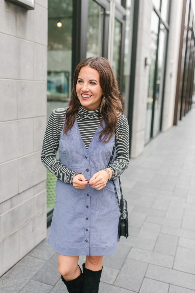 casual fall outfit | striped turtleneck | corduroy jumper dress | Petite Fashion Blogger Lady in Violet