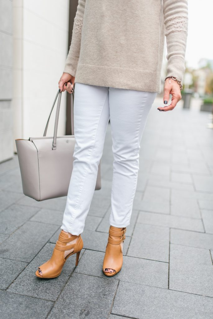 casual outfit | brown peep toe booties | white jeans | Petite Fashion Blogger Lady in Violet