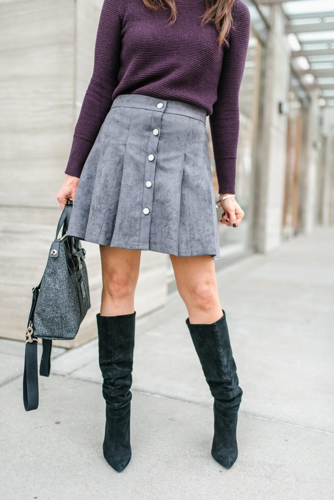 winter outfit | gray suede button skirt | black suede boots | Petite Fashion Blogger Lady in Violet
