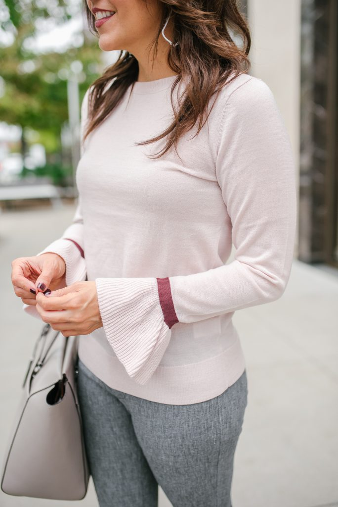 winter work outfit | ruffle sleeve sweater | gray pants | Popular Houston Fashion Blogger Lady in Violet