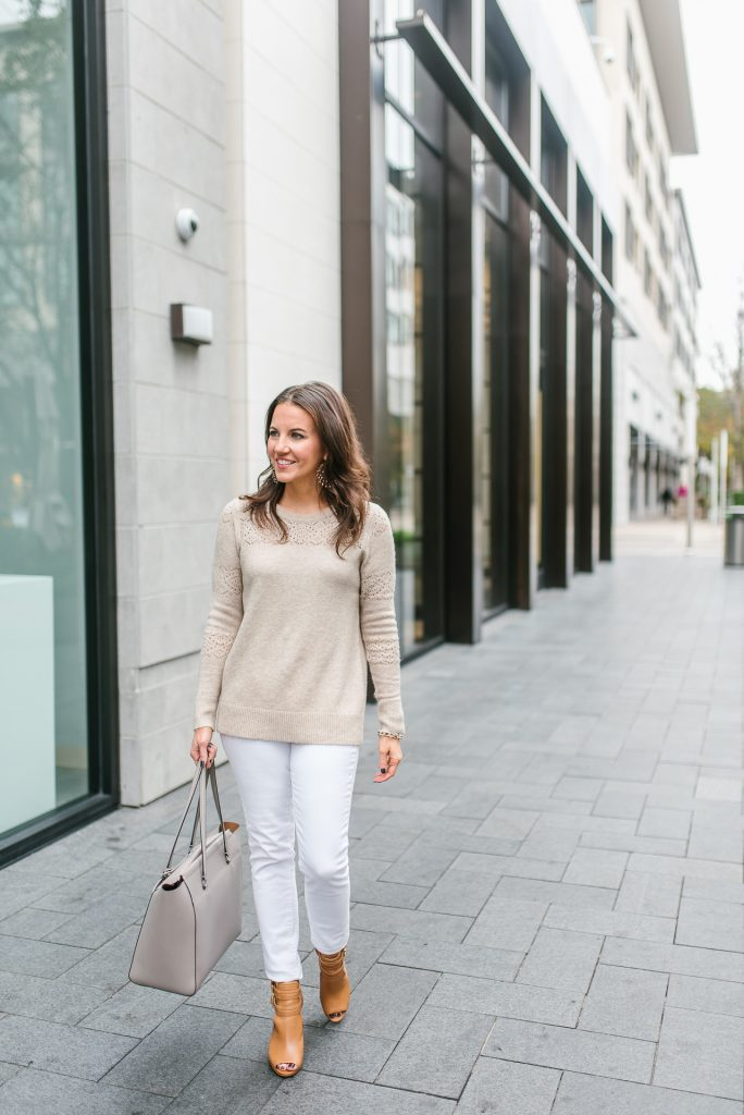 casual weekend outfit | beige sweater | brown peep toe booties | Popular Petite Fashion Blogger Lady in Violet