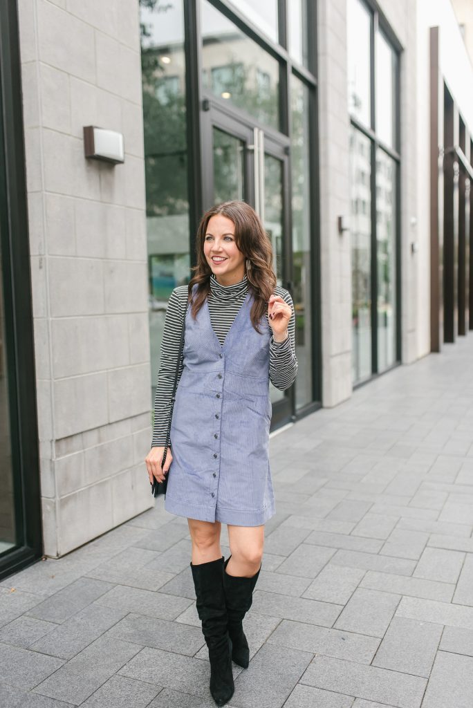 casual winter outfit | purple corduroy jumper dress | striped turtleneck | Houston Fashion Blogger Lady in Violet