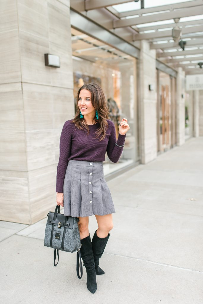 fall outfit | workwear | gray suede skirt | Top Houston Fashion Blogger Lady in Violet