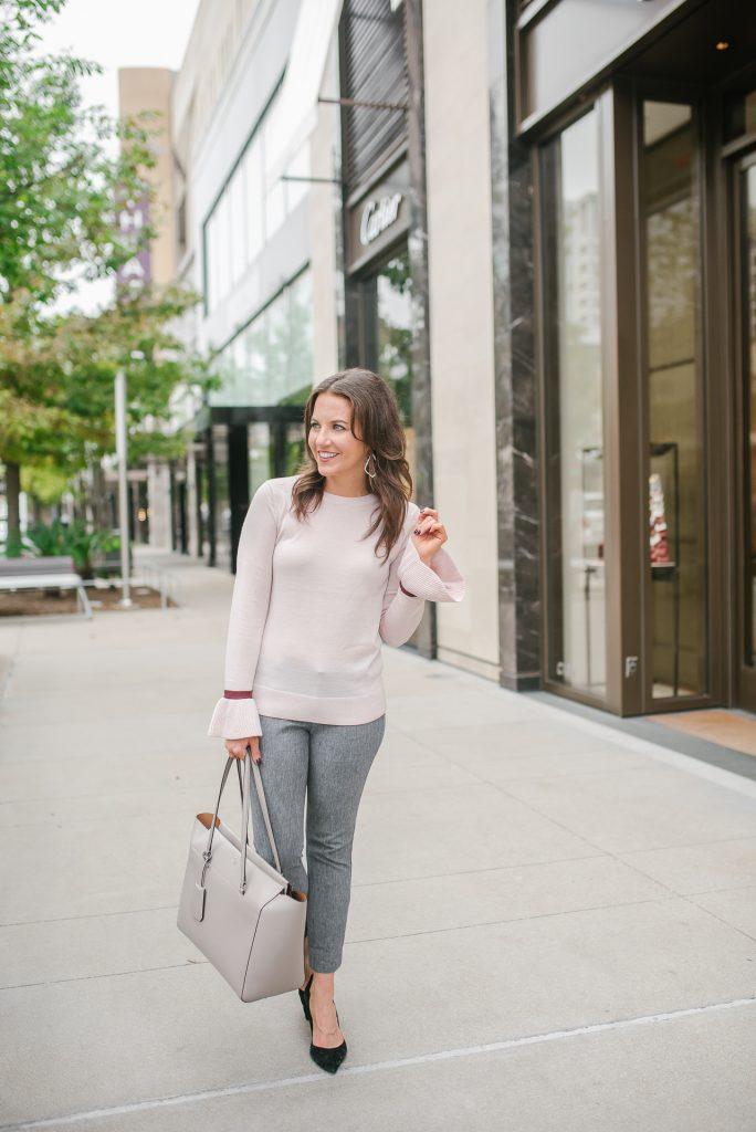 petite workwear | blush pink sweater | gray slacks | Popular Petite Fashion Blogger Lady in Violet