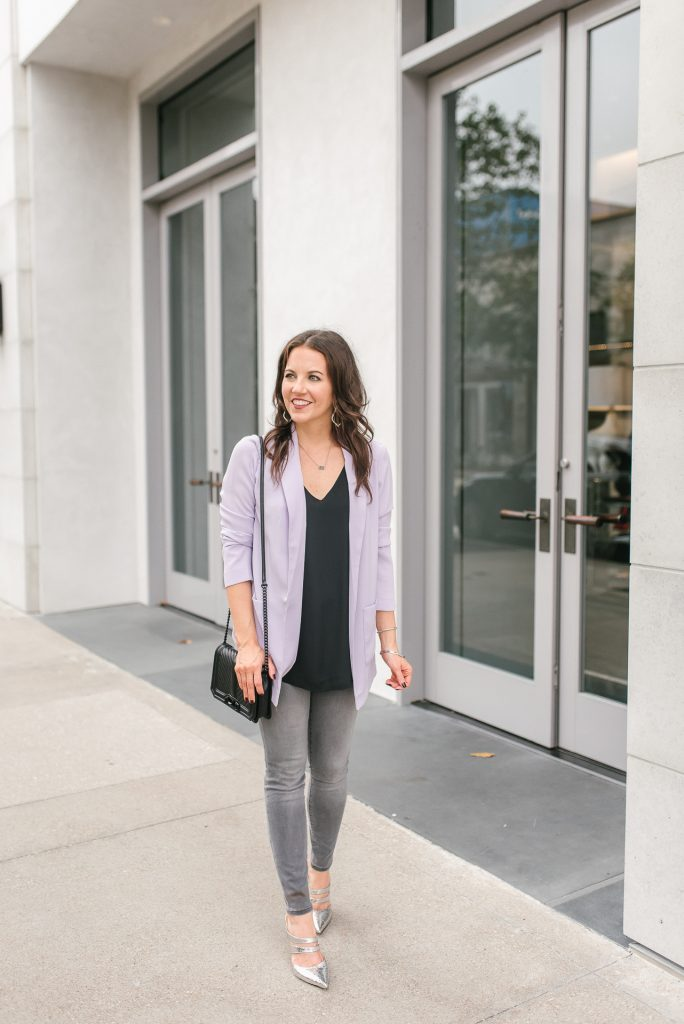 winter outfit | purple blazer | silver metallic heels | Popular Petite Fashion Blogger Lady in Violet