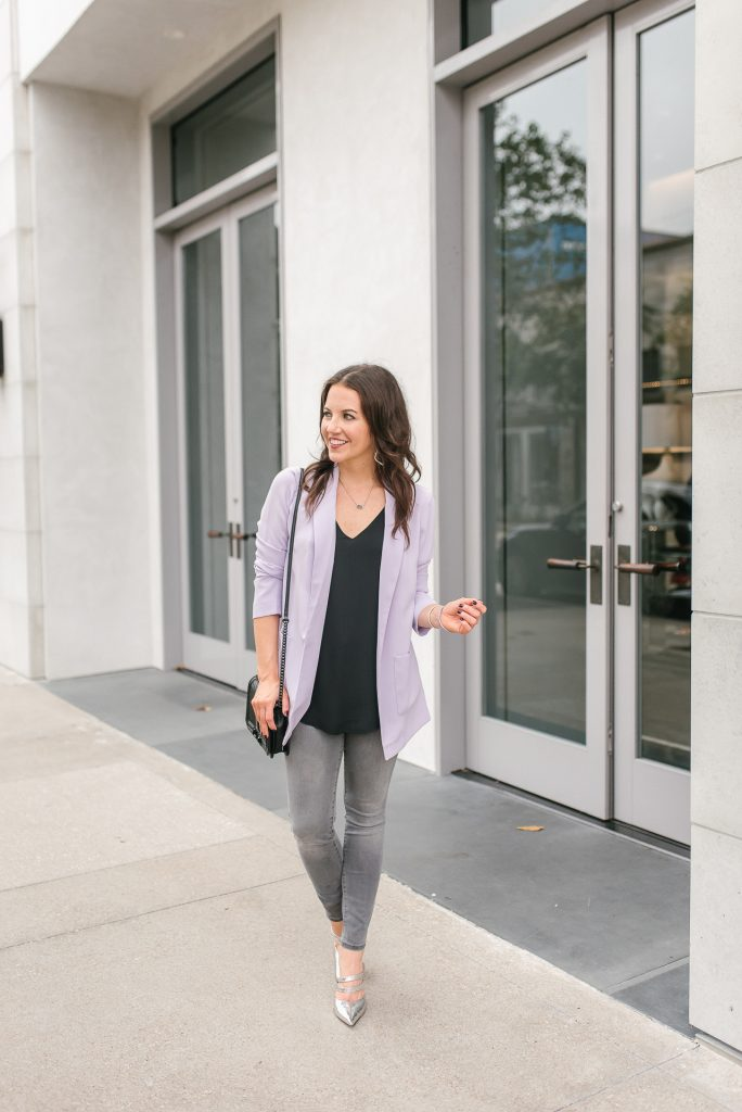 Casual fall outfit | purple long blazer | gray jeans | Top Houston Fashion Blogger Lady in Violet