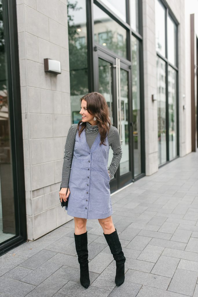 Fall outfit | corduroy jumper dress | suede boots | Top Houston Fashion Blogger Lady in Violet