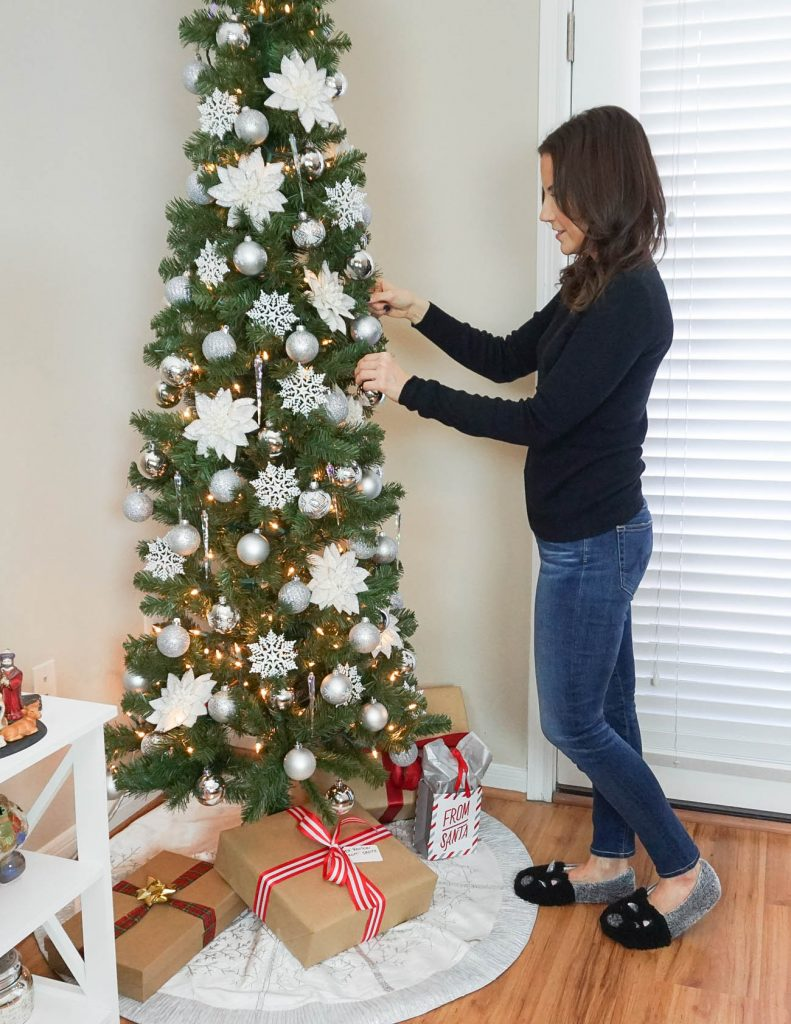 how to decorate small spaces for Christmas | silver and white christmas tree | gift wrapping idea | Houston Blogger Lady in Violet