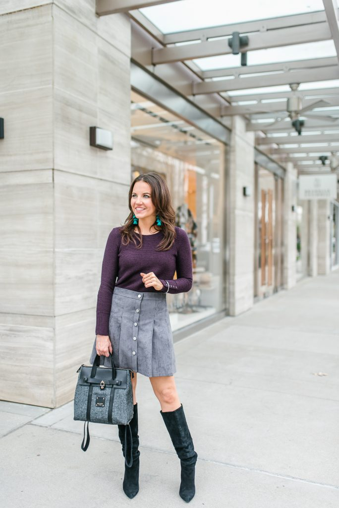 winter outfit | purple sweater | gray suede skirt | Popular Petite Fashion Blogger Lady in Violet