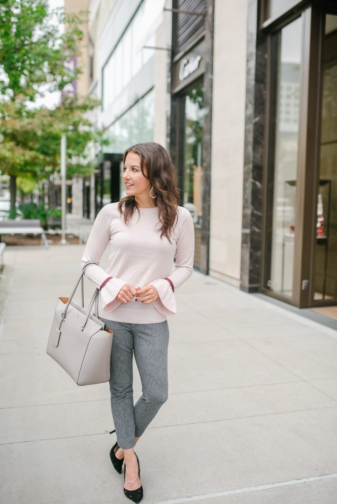winter workwear | pink sweater | gray work pants | Popular Houston Fashion Blogger Lady in Violet
