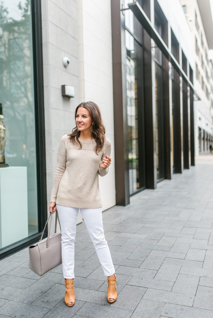 casual fall outfit | beige lightweight sweater | white skinny jeans | Popular Petite Fashion Blogger Lady in Violet