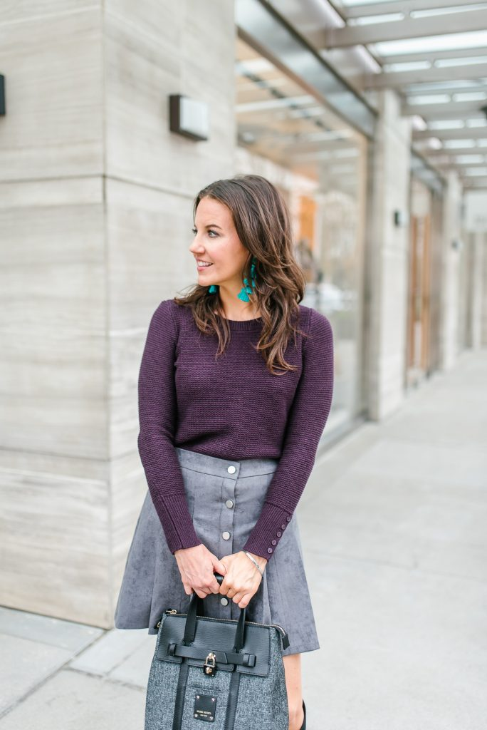 casual fall outfit | purple sweater | gray suede skirt | Top Houston Fashion Blogger Lady in Violet