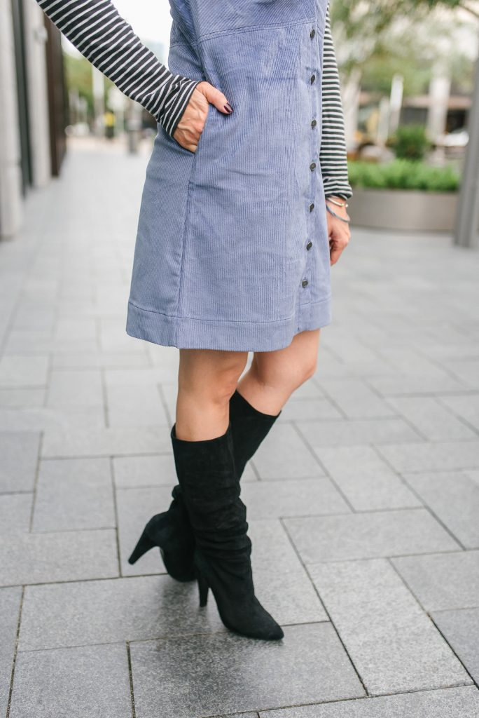 fall outfit | corduroy dress | black suede boots | Popular Petite Fashion Blogger Lady in Violet