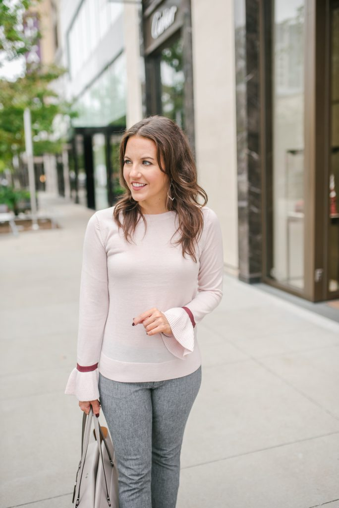 winter work outfit | pink sweater | gray pants | Houston Fashion Blogger Lady in Violet