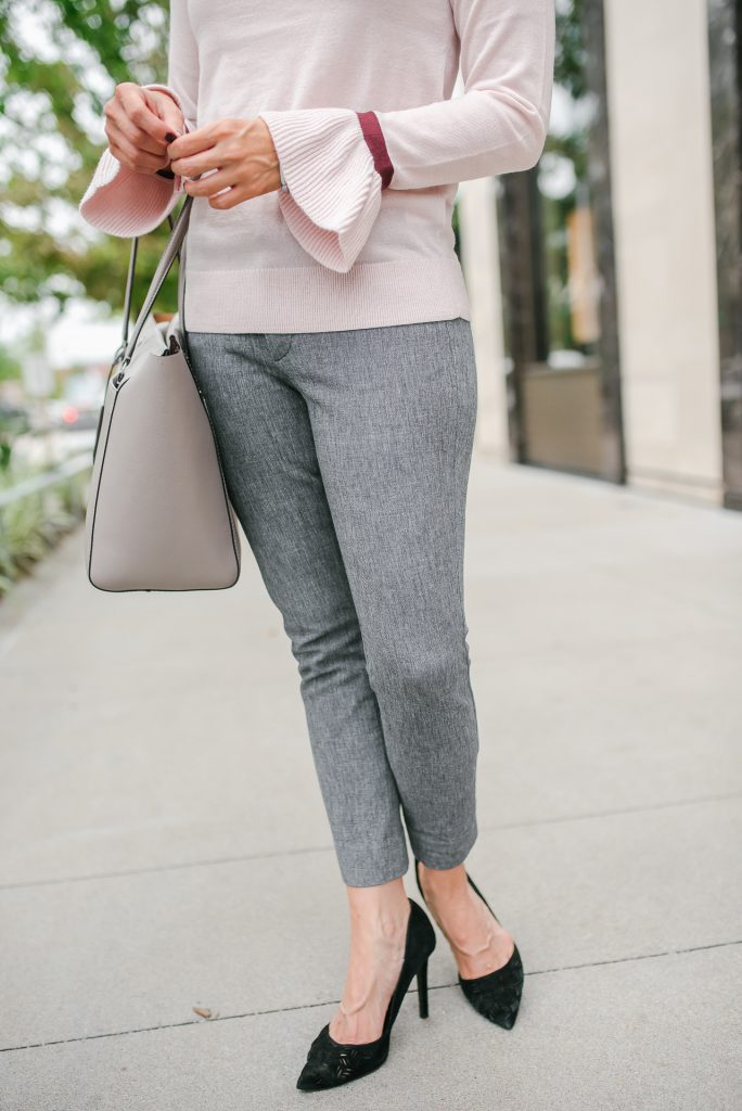 Fall workwear | banana republic sloan pant | black dorsay heels | Petite Fashion Blogger Lady in Violet