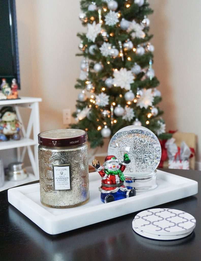 simple ways to decorate apartment for Christmas | holiday candle silver snowglobe | Houston Fashion Blogger Lady in Violet