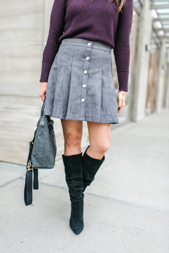 winter outfit | gray suede button skirt | black slouchy boots | Houston Fashion Blogger Lady in Violet