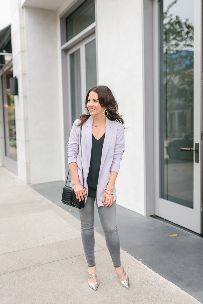 casual outfit | purple blazer | gray skinny jeans | Popular Houston Fashion Blogger Lady in Violet