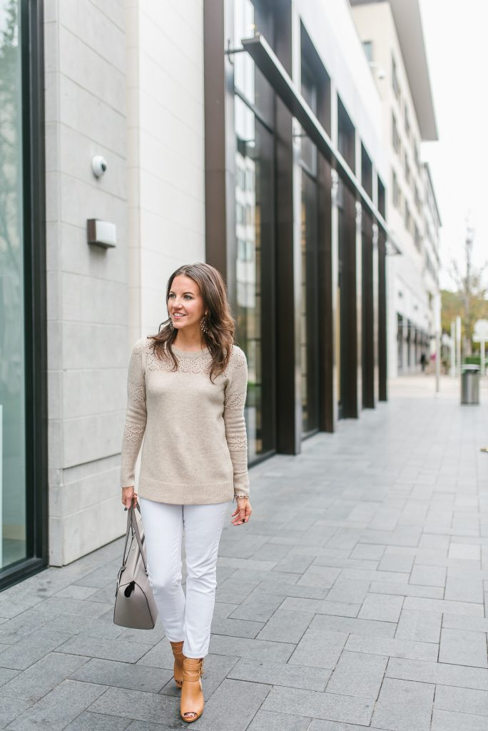 casual winter outfit | beige sweater | white skinny jeans | Petite Fashion Blogger Lady in Violet