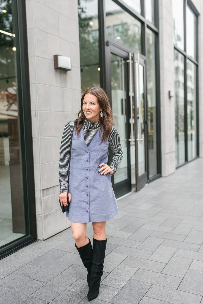 fall outfit | purple corduroy jumper dress | black boots | Petite Fashion Blogger Lady in Violet