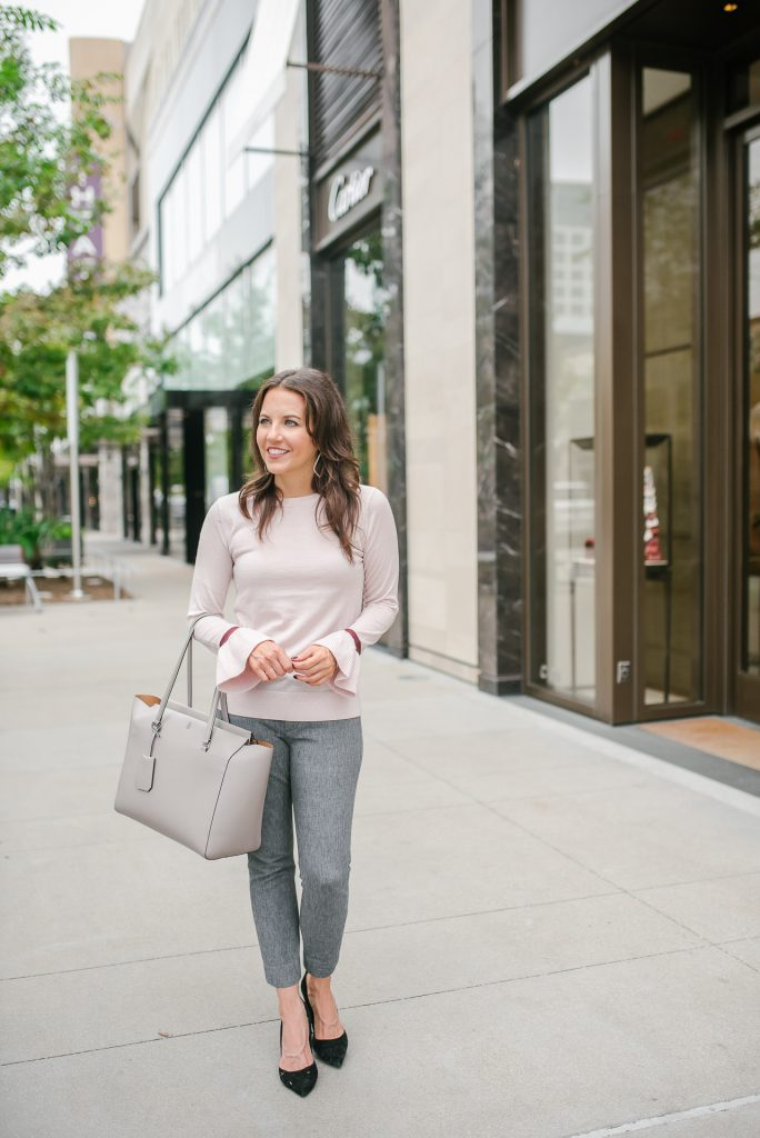 petite office outfit | light pink sweater | gray work bag | Popular Houston Fashion Blogger Lady in Violet