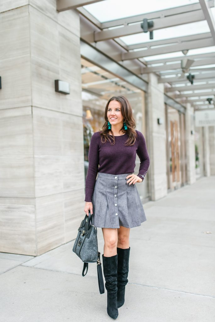 winter outfit | workwear | purple sweater | gray suede skirt | Houston Fashion Blogger Lady in Violet