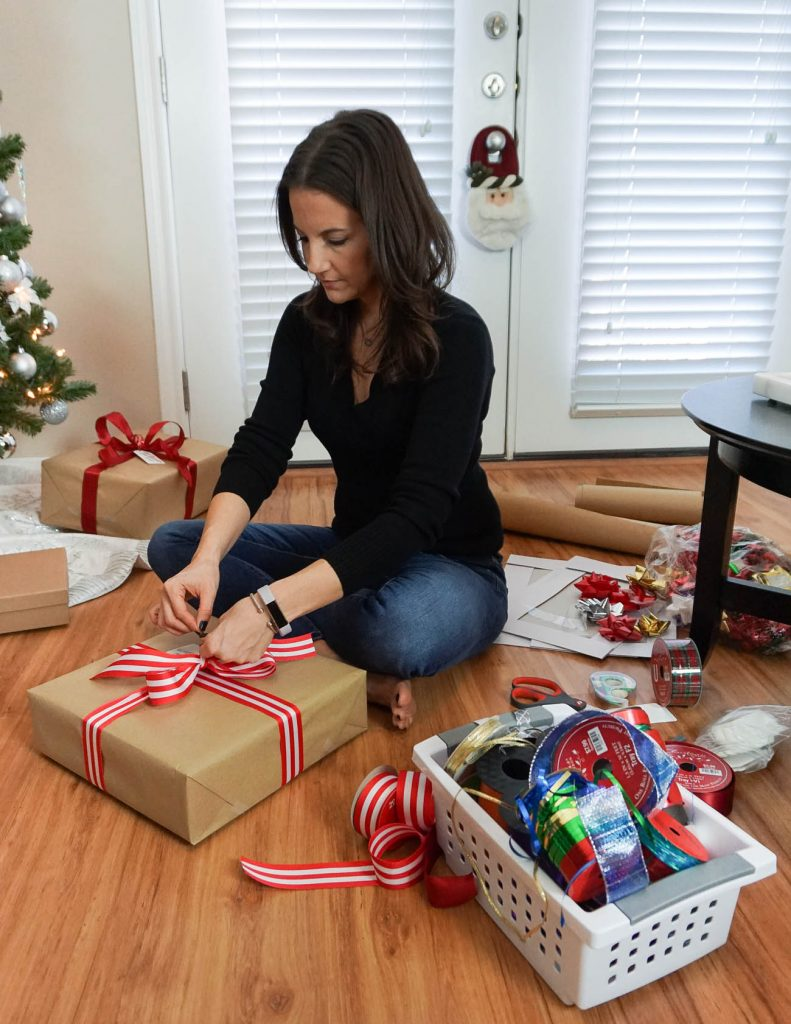 how to wrap Christmas gifts | Houston Blogger Lady in Violet