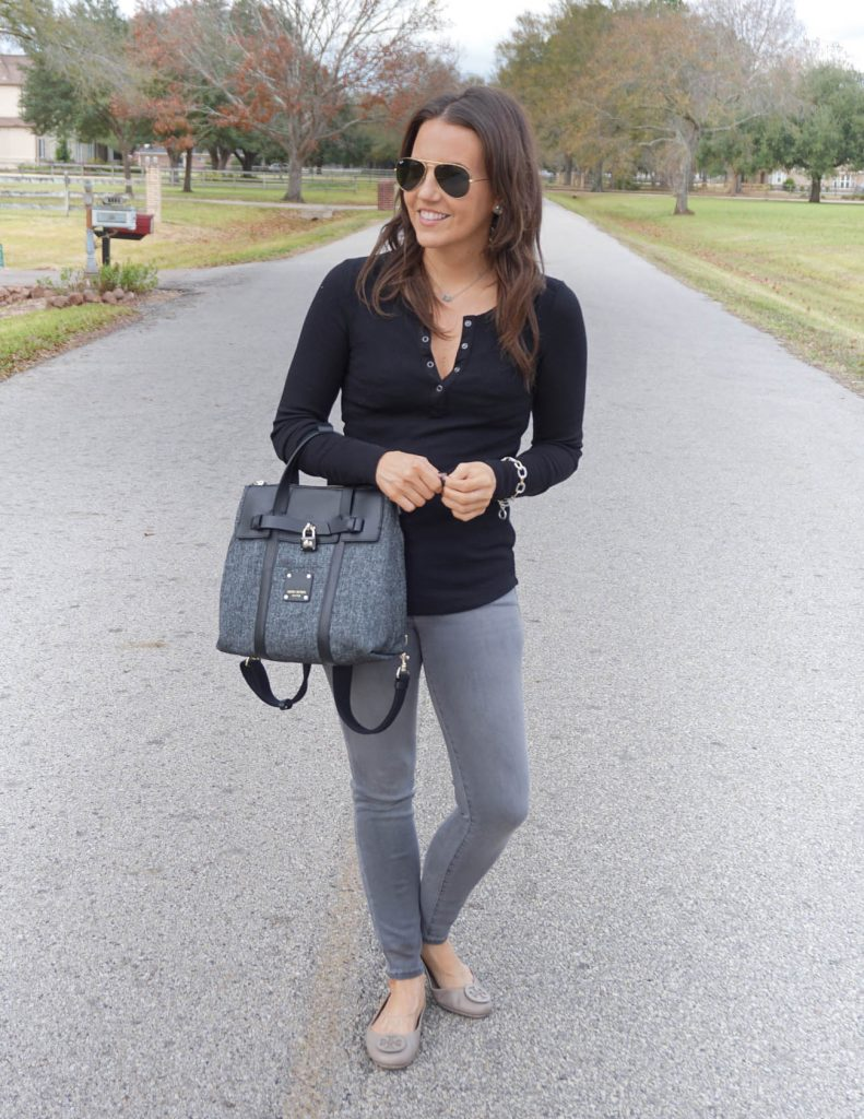 casual winter outfit | black thermal top | gray skinny jeans | Houston Fashion Blogger Lady in Violet