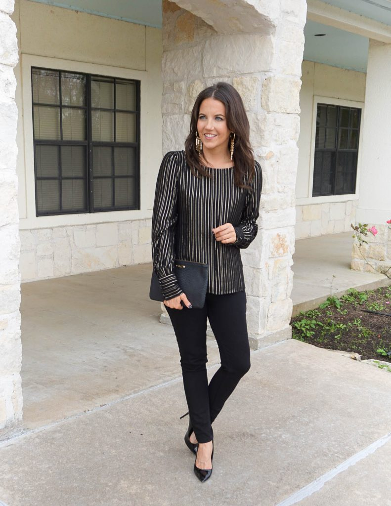 galentine's day outfit | metallic striped top | black jeans | Houston Fashion Blogger Lady in Violet