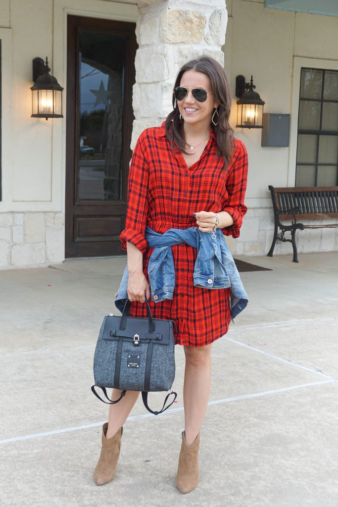 rodeo outfit | red plaid dress | western booties | Houston Fashion Blogger Lady in Violet