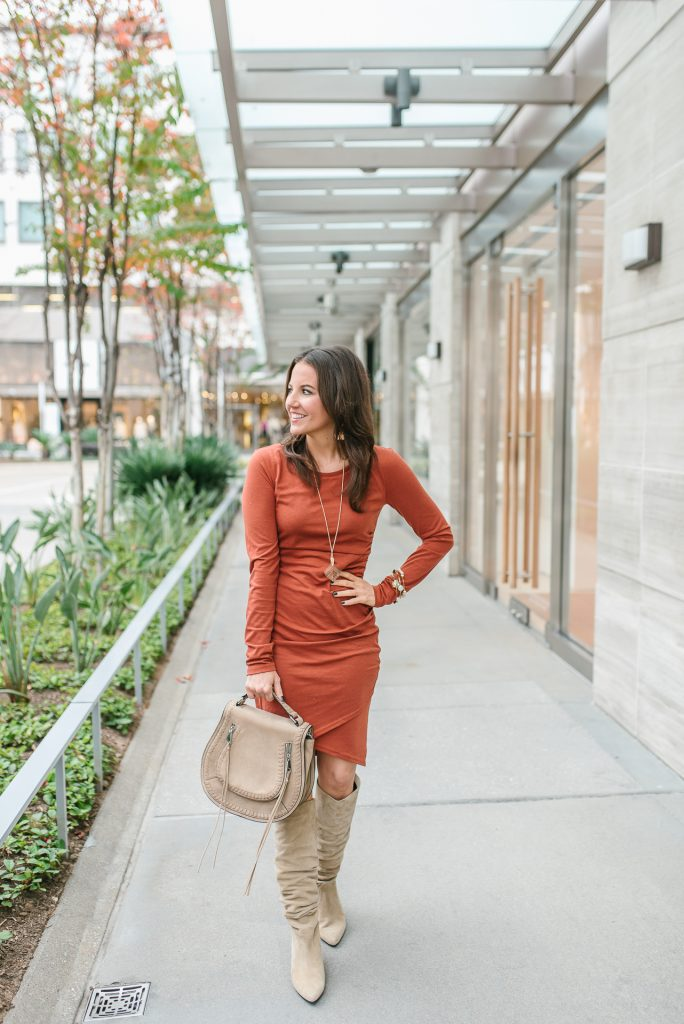 winter date night outfit | orange fitted dress | tall suede boots | Popular Petite Fashion Blogger Lady in Violet