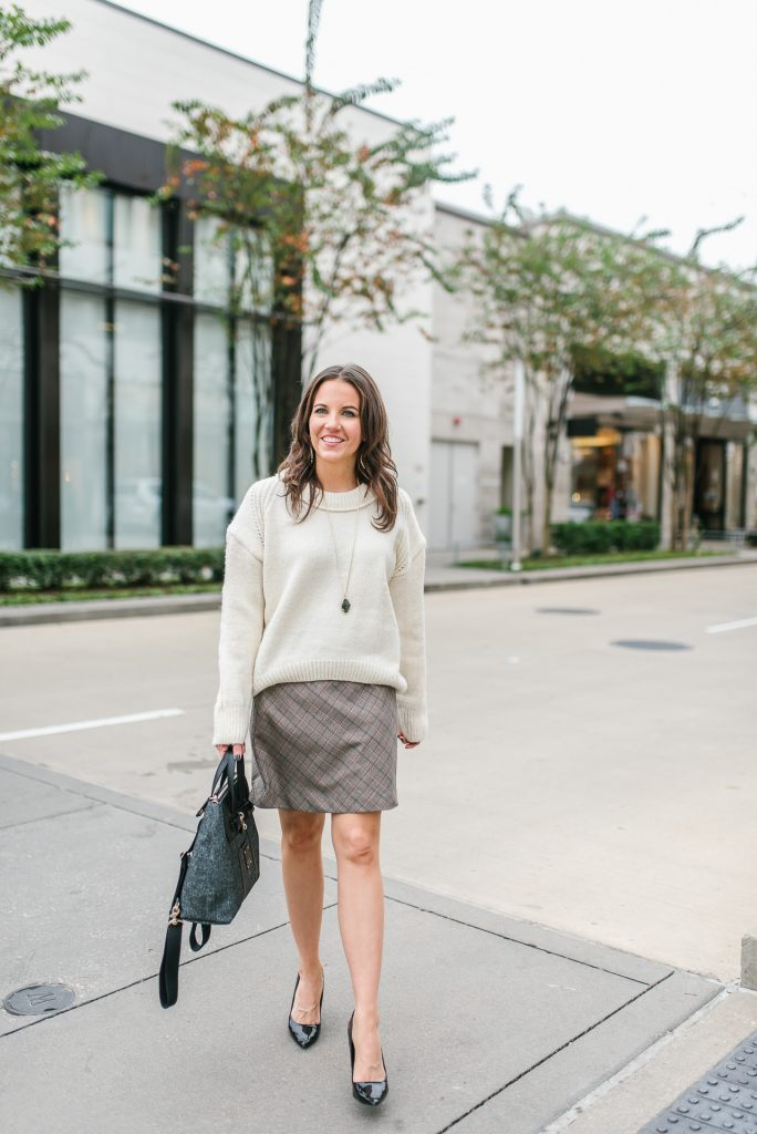 winter fashion | cream cropped sweater | plaid mini skirt | Houston Fashion Blogger Lady in Violet